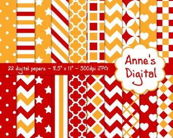 "Red and Gold Digital Papers - Matching Solids Included - 22 Papers - 8.5"" x 11"" - Instant Download - Commercial Use (122)"