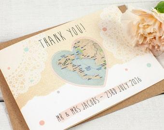 Wedding Thank You Card - Map Heart