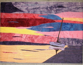 "Sunrise: Waiting for the Tide - Quilted Fiber Art on Canvas - 12"" x 16"""