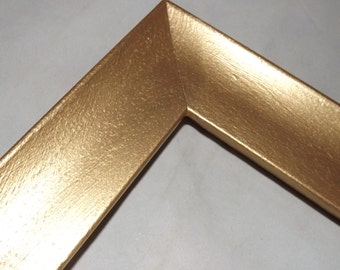 One 14x18 Ready to Ship Picture Frame ~ Scooped Profile ~ Soft Gold Metallic Accent ~ 1 3/4 in Wide x 1 Tall x 1/2 in Rabbet