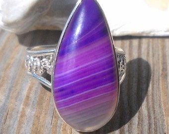 Purple Agate Ring 925 Sterling Silver  Size 8