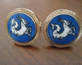 Capricorn The Goat Cufflinks Zodiac Sign Blue and White Wrapped in Gold