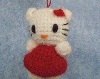 New Handmade Crochet  Hello Kitty. Hand knitted crocheted toy