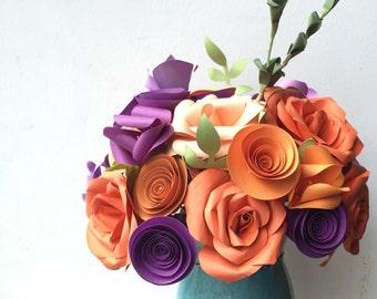 Paper flower centerpiece, paper flower bouquet, orange wedding flowers