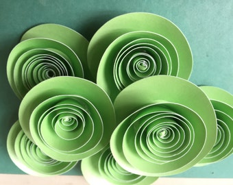 Paper Flowers Green Paper Flowers Wedding Table Decorations 10 flowers