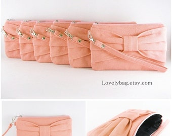 SUPER SALE - Set of 3 Peach Bow Clutches - Bridal Clutches, Bridesmaid Wristlet, Wedding Gift - Made To Order