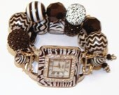 Zebra Print Chunky Beaded Watch, Interchangeable Beaded Watch, Beaded Watch Band, Mothers Day Gift, Unique Gift, BeadsnTime