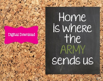 Digital Download 8x10 Chalkboard Home is where the Army sends us Print