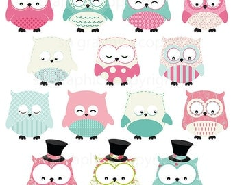 Owls - Clipart for cards, scrapbooking, invites, general craft work