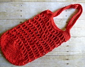 Crochet Mesh Small Market Bag - Red Color - Beach Bag