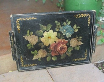 Vintage Hand-Painted Wooden TOLE TRAY w/ Pink ROSES & Flowers Shabby Chippy Wood Tray