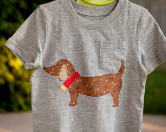 Boys t-shirt - dog t-shirt , Appliqued boys t-shirt  Boys short sleeve shirt, boys long sleeve shirt, Dachshund boys shirt