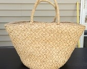 French style farmer's market bag, woven basket w handles