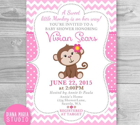 Monkey Baby Shower Invitation Printable Girl Monkey Baby