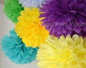 20 Tissue Paper POM POMS // Choose your Colors // Wedding Decor // Party Decor // Nursery Decor // Paper Balls