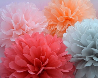 120 Tissue Paper POM POM Set + 5 FREE Pom Poms // Choose your Colors // Wedding Decorations // Party Decorations // Nursery Decorations