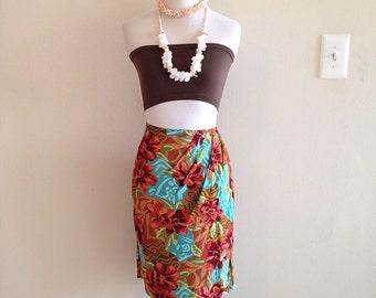 Vintage 1980s Crazy Tropical Tiki Print Sarong Wrap Skirt