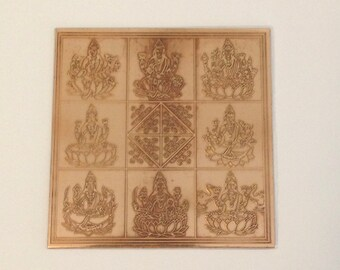 "3"" Ashta Lakshmi Pure Copper Blessed Yantra - Money Drawing - Wealth - Laxmi"