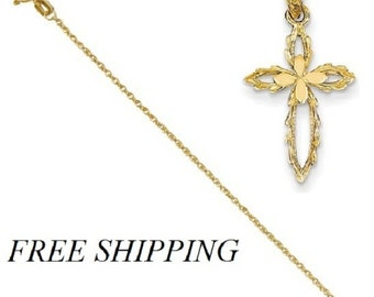 14k Cross Cut-out Pendant with 14k Chain