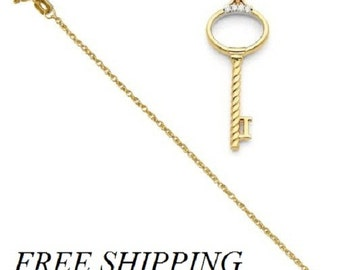 14k Diamond Key Pendant with 14k Chain 30 day money back Guarantee!