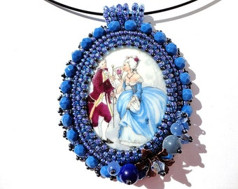 Embroidery Ocean Blue Pendant Bead Embroidered Vintage Style Porcelain Cameo Necklace Ready to ship OOAK Jewelry