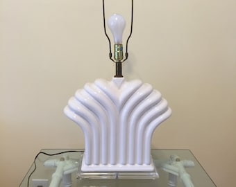 LUCITE AND PORCELAIN Lamp Large White Porcelain and Lucite Table Lamp Fleur De Lis Abstract Hollywood Regency Lamp at Ageless Alchemy