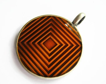 Geometric Squares Pendant, 35mm Round Pewter Pendant, Orange Geometry Pendant, Wholesale Pendant, Altered Art, Silver Plated PE002