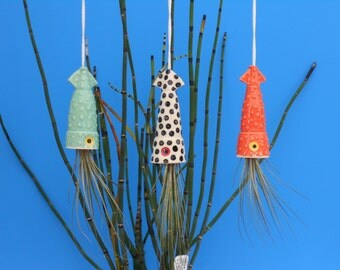 Air Plant Planter, Hanging Planter,  Small Squid,Whimisical gift for any Occasion