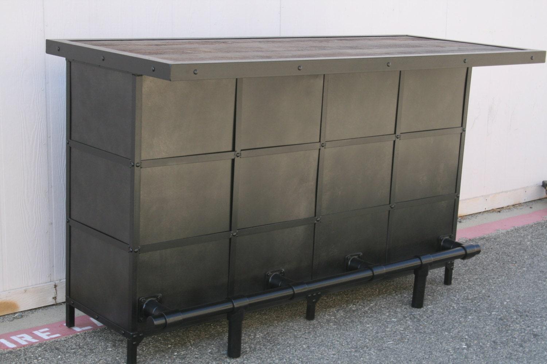 Industrial Bar Reclaimed Wood Liquor Cabinet Modern