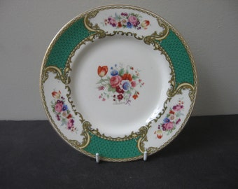 """Royal Crown MYOTT England THE BOUQUET Green Panels 8"""" Salad Plate Signed"""