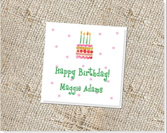 Children's Personalized Gift Cards -  25 cards; Kids' Birthday Gift Tags; Gift Enclosures for Children; Gift Tags for Kids