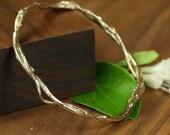Honeysuckle Vine Bangle Bracelet in 14K Gold, Gold Twig Bracelet by Mary Cappy, MKSterlingDesign