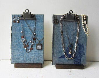 Necklace & Earring Display - Pair Blue Clipboard Book Jewelry Displays - Ready to Ship