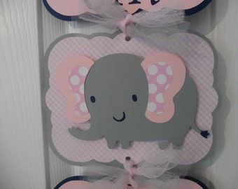 It's a Girl Door Banner - It's a Girl Elephant Hospital Door Banner - 3 cards