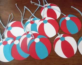 Beachball Party Favor Tags- Beach Party Tags- Pool Party Favor Tags- Pool Birthday Party