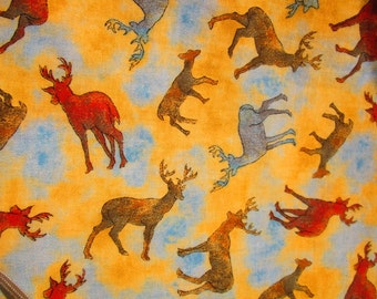 Quilting Fabric  by the Yard    Elk Print Fabric    Cotton fabric by the Yard   Hunting Wildlife  Elk Deer  Yellow Blue Red Brown