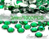 3mm/1000pcs Dark Green color Flatback Rhinestone Crystal accessories material supplies