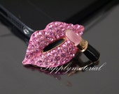 1PCS Bling Pink Crystal Rhinestone Lips Lipstick flatback Alloy jewelry For Phone case deco
