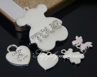 5pcs/set White Crystal rhinestones Bear Charm flatback Alloy Jewelry accessories DIY Phone deco