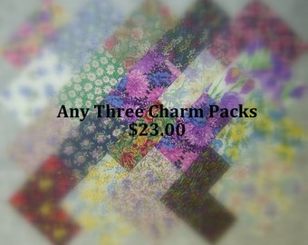 Any 3 Charm Packs, You Choose Colors, Multiple Purchase Discount.