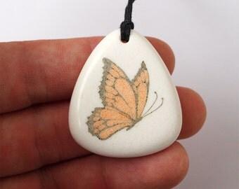 Butterfly pendant, Butterfly necklace, Butterfly jewelry, Scrimshaw neckalce, Scrimshaw pendant, Corian necklace, Stone pendant, Stone charm