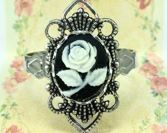 Cameo Ring with Black Background and Cream Flower Design~Adjustable~Vintage Victorian Style~Black Cameo Adjustable Ring