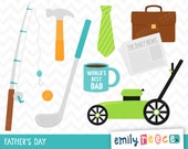 80% OFF SALE Fathers Day Dad Work Golf Fishing Cute Clip Art, Instant Download, Commercial Use