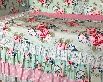 Pink Navy Aqua Floral Shabby Chic Custom Crib Bedding