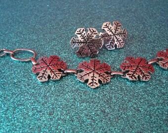 Vintage Snowflake Bracelet & Earring Set