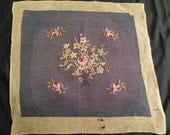 Victorian vintage NEEDLEPOINT PETITPOINT TAPESTRY handstitched chair cover pillow cover gobelin embroidery