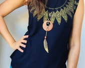 LAST ONE Into the Woods goddess necklace wood circle antique brass gold handpainted feather black deerskin leather cord antique brass chain