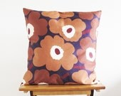 Floral pillow cover, Unikko Marimekko cushion cover, simple floral design, warm chocolate colours, warm home decor, modern minimalist