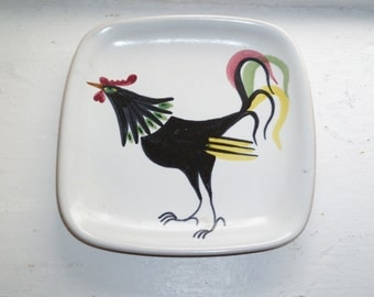 Rooster Dish, Small Rooster Plate, Ceramic Rooster Decor, Retro Kitchen Decor