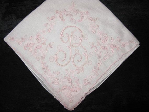 embroidered hankies wedding initial b handkerchief